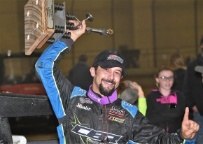 "Thomas Meseraull celebrates Saturday night's victory in the ""Junior Knepper 55"" at the Southern Illinois Center in Du Quoin."