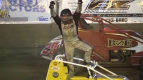 "Troy Rutherford celebrates his victory in Saturday night's portion of the ""Peter Murphy Classic"" at Tulare, California's Thunderbowl Raceway."