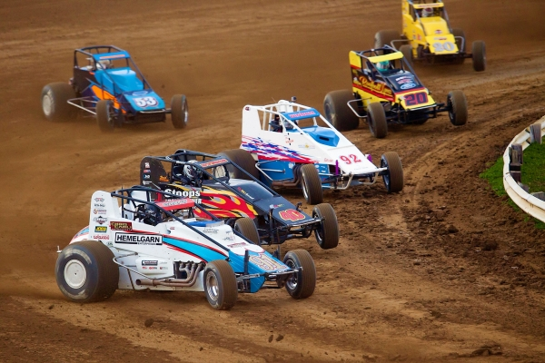 "Justin Grant leads a pack in the ""Sumar Classic"" at the Terre Haute Action Track in April."
