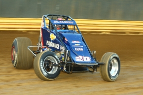 Bryan Clauson hot-laps around New Egypt Speedway before winning Thursday's 30-lap Feature.