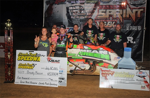 Brady Bacon gave Hoffman Auto Racing their 91st USAC National Sprint Carvictiory on Thursday at Lincoln Park Speedway.