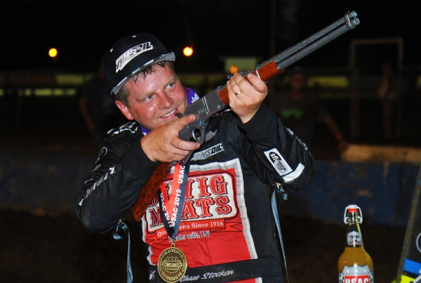 "Chase Stockon aims the rifle after winning Wednesday's ""Tony Hulman Classic.'"