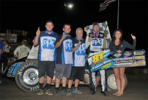 Mike Martin and crew celebrate after Friday's victory at Wichita.