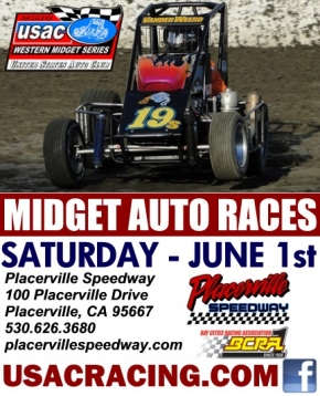 GARDNER LEADS WESTERN MIDGETS TO PLACERVILLE SATURDAY