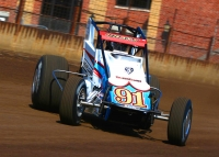 Justin Grant in the Carli/Hemelgarn #91 Silver Crown car at the Springfield Mile in August.