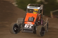 Tanner Thorson in action in Friday night's USAC Midget National Championship event at Riverside International Speedway in West Memphis, Arkansas.