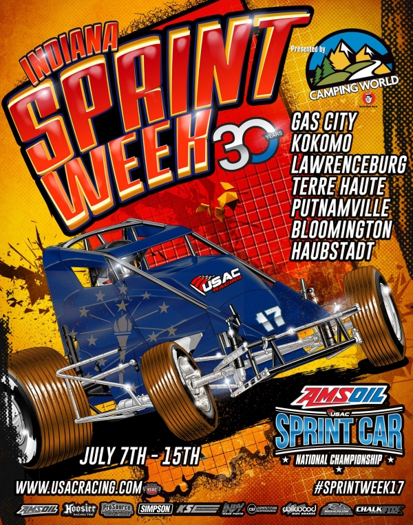 RACEDAY: Gas City - Indiana Sprint Week Rd. 1 - July 7, 2017