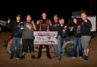 Austin Liggett and crew celebrate after winning at Las Vegas.