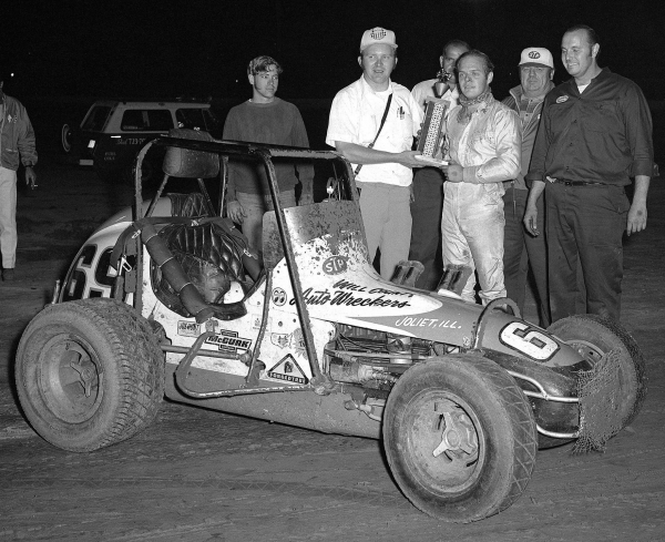 Jim McClean poses after his first USAC win at Hinsdale, Ill. in 1971.