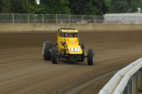 Tracy Hines negotiates a turn at the Illinois State Fairgrounds mile.