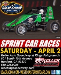 WEST COAST SPRINTS AT KINGS SATURDAY; SUSSEX WINS CANYON'S EASTER EGGSTRAVAGANZA