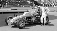 Larry Rice poses with his Dave LeFevre owned USAC Dirt Championship car during their 1977 title season.