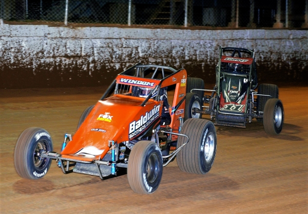 Eventual winner Chris Windom (#5) battles Justin Grant (#11) for the lead on the final lap of Saturday's Eastern Storm feature at Port Royal (PA) Speedway.