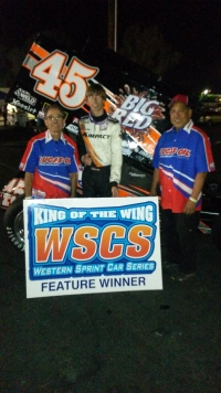 "Davey Hamilton Jr. poses after his ""Vukovich Classic: win at Madera."