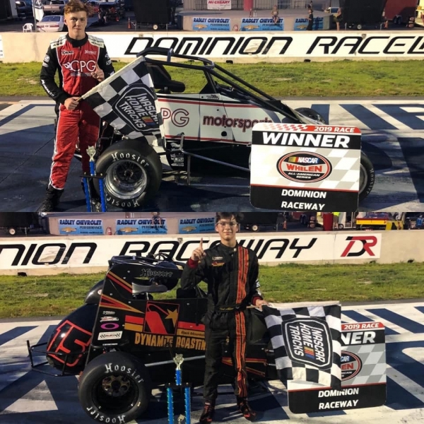 Connor Gross (top) and Neal Allison celebrate their USAC Speed2 Eastern Midget feature victories Saturday night at Dominion Raceway.