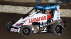 Kyle Larson (#1K) will attempt to win his third consecutive USAC NOS Energy Drink National Midget race this Thursday in the Turkey Night Grand Prix at California's Ventura Raceway, something that's only been accomplished twice in series history.
