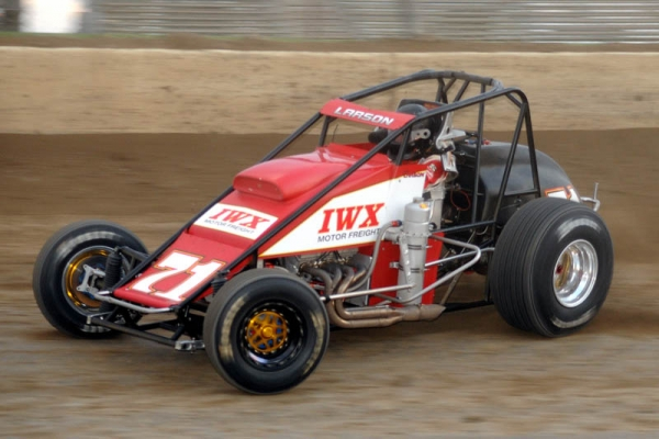 "Kyle Larson in the Keith Kunz #71 Silver Crown on the night he swept all three USAC divisions during the ""4-Crown Nationals"" at Eldora Speedway."