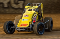 "Josh Hodges won his first career USAC AMSOIL National Sprint Car feature Saturday night in Lawrenceburg (Ind.) Speedway's ""Fall Nationals."""