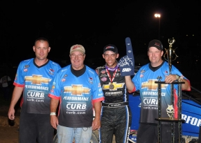 Bryan Clauson and the Tony Stewart/Curb-Agajanian Racing crew in Lincoln Park Speedway victory lane.