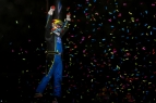 Tyler Courtney celebrates victory in the USAC AMSOIL National Sprint Cars' first visit Randolph County Raceway in Moberly, Missouri for the first time since 1989.