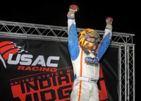 Tyler Courtney celebrates after winning Tuesday's opening round of Indiana Midget Week at Montpelier.