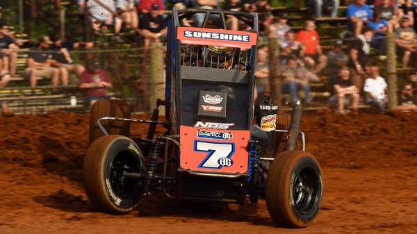 "Friday night's Bloomington ""Indiana Midget Week"" winner Tyler Courtney from Indianapolis, Indiana."