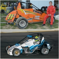 USAC Midwest Thunder Midget Champion Aaron Leffel (Top) and USAC Eastern Midget champion Jessica Bean