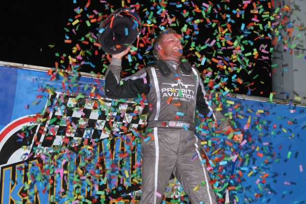 Tyler Courtney is ecstatic following his victory in Saturday night's USAC AMSOIL National Sprint Car feature at Iowa's Knoxville Raceway.