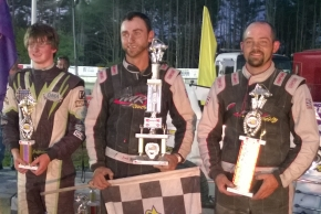 Winner Josh Sunn is flanked by runner-up Adam Pierson and 3rd-place Jeff Champagne at Bear Ridge Saturday.