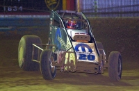J.J. Yeley on the hammer at Terre Haute during his USAC National Sprint Car championship season in 2003.