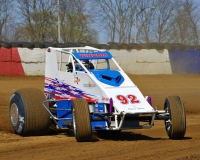 Chris Windom in action at the Terre Haute Action Track in April 2017, a race which he won.