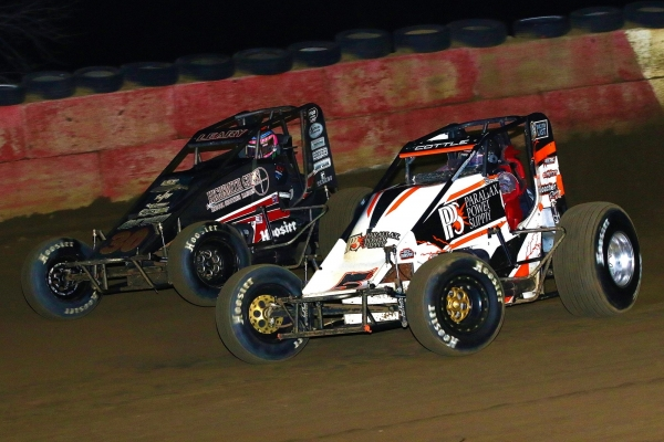 #5G Shane Cottle and #30 C.J. Leary battle at Terre Haute.