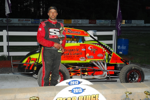Scott Holcomb poses after Saturday's win at Bear Ridge.