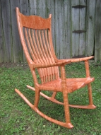 John Youngs' exquisite curly cherry wood rocker, donated by Don & Lisa Kreischer of Ohio will be on display at Bloomington Speedway. It goes to the Indiana Sprint Week winning car owner.