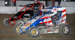 Winner Dean Christensen (#69)  battles Jeff Horn position Saturday night at Bear Ridge.