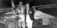 Eddie Leavitt in victory lane at Williams Grove in 1981 during the USAC Silver Crown Series' most recent visit to the Mechanicsburg, PA half-mile.