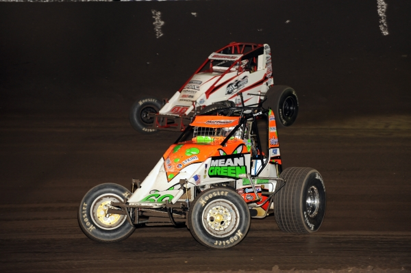 "USAC AMSOIL National Sprint Car points leader Brady Bacon (#69) and Chad Boespflug (#98E) - 6th in points - are among the favorites to take the victory in this weekend's 21st Budweiser ""Oval Nationals"" presented by All Coast Construction."