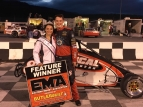Sam Hatfield in Shenandoah Speedway's victory lane after his Saturday night feature win.