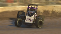 James Edens (52) scored his second straight iRacing USAC World Championship presented by FloRacing win at Kokomo Speedway.