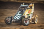 Bryan Clauson in action on the night of his 110th career USAC victory, a National Midget race, last Saturday at Riverside International Speedway in West Memphis, Arkansas.
