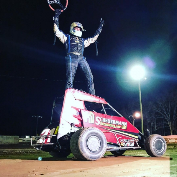 Point leader Tommy Kunsman, Jr. celebrates following his victory on April 6 at Linda's Speedway.