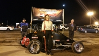Toni Breidinger poses after her victory at Blythe.