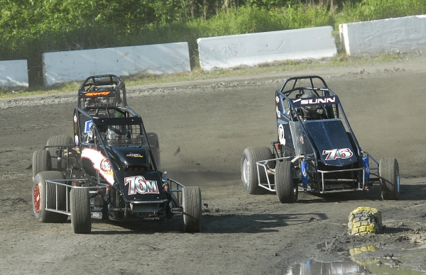 Adam Pierson leads this group of cars during a recent race at Bear Ridge.