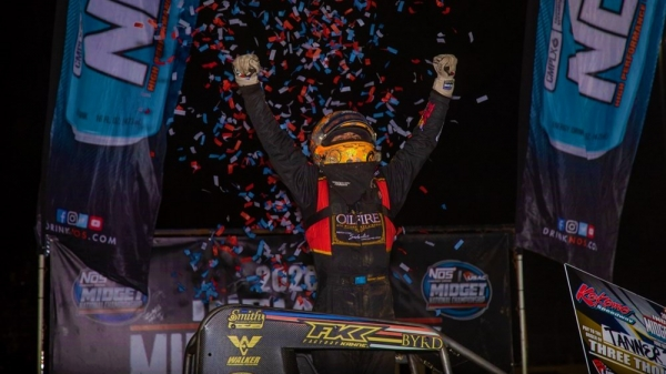 Tanner Thorson captured the victory in a photo finish Sunday in the Indiana Midget Week finale at Kokomo Speedway.