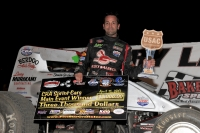 Damion Gardner celebrates in Bakersfield Speedway victory lane after winning Saturday night's USAC/CRA Sprint feature.
