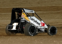 "Kyle Larson took Tuesday night's opening round of ""Indiana Midget Week"" at Montpelier Motor Speedway"