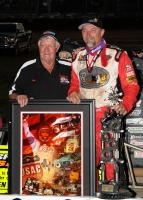 Tom Bigelow (r) congratiulated Dave Darland (l) after Dave's 53rd USAC Sprint win.