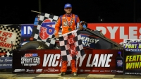 Tyler Courtney celebrates his Eastern Storm victory Saturday night at Port Royal Speedway.