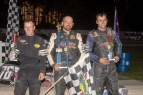 Adam Pierson is flanked by Josh Sunn and Adam Whitney after Saturday's race at Bear Ridge Speedway.