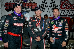 Winner Cody Williams is flanked by Mike Spencer and Damion Gardner at Santa Maria.